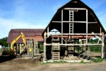 Cribs needed to hold up the Hillier Creek barn during renovation.