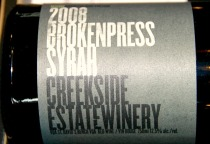 One of Creekside's uniques Syrah with a touch of viognier