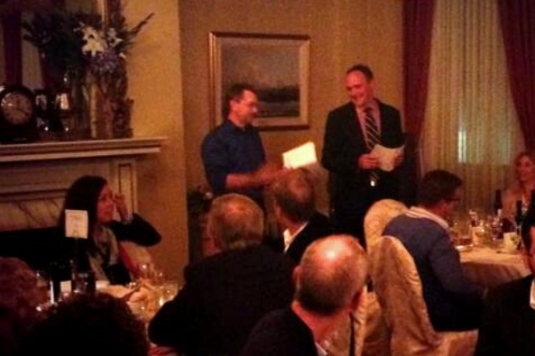Brewmaster Bobby Zacharias (left ) and winemaker Simon Rafuse (right)  address the Halifax Club Dinner
