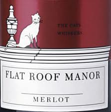 Flat Roof Manor Merlot and its signature cat on the roof