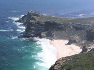 The Cape of Good Hope where the Atlantic and Indian Oceans meet.