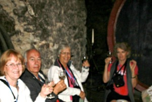 Wine tasting in the dungeon like castle barrel cellar