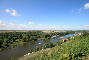 View of the Voltiva River and vineyards from Castle Melnik