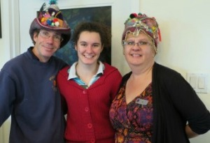 Kimball, and Liz Lacey with their Wassail Crowns with their daughter Emily