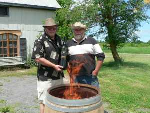 Geoff Webb and Pete Bradford toasting a barrel
