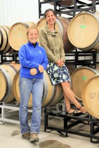 Catherine Langlois and her assistant winemaker Jacklym Boyd at Sandbanks